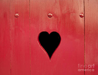 Wooden Window Shutter With A Heart-shaped Hole Art Print by Bernard Jaubert