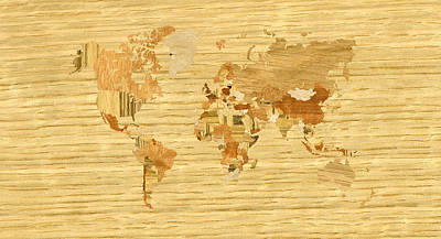 Grunge Digital Art - Wooden World Map 2 by Hakon Soreide