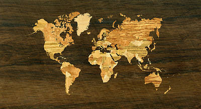 Wooden World Map Art Print by Hakon Soreide