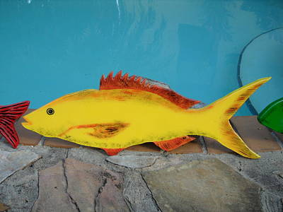 Wooden Fish Mixed Media - Wooden Yellow Tail by Val Oconnor