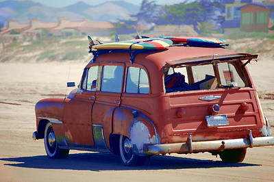 Woodie On The Beach Art Print