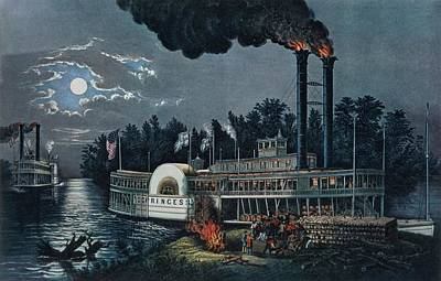 Steamboat Photograph - Wooding Up On The Mississippi Colour Litho by N. Currier