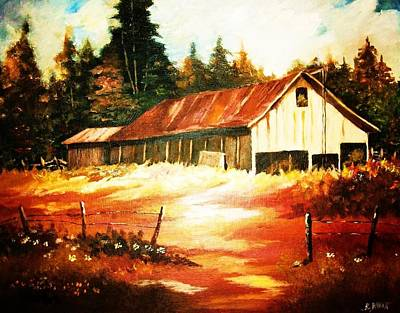 Woodland Barn In Autumn Art Print by Al Brown