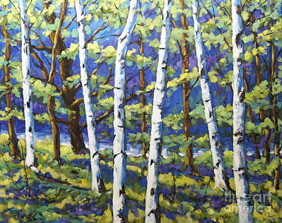 Quebec Painting - Reserved To C.s.._woodland Birches by Richard T Pranke