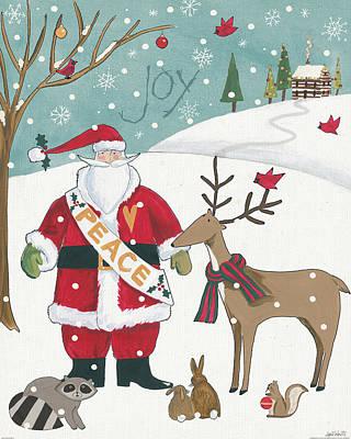 Santa Claus Painting - Woodland Christmas Vii by Anne Tavoletti