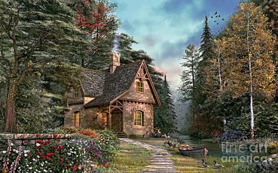 Rural Digital Art - Woodland Cottage by Dominic Davison