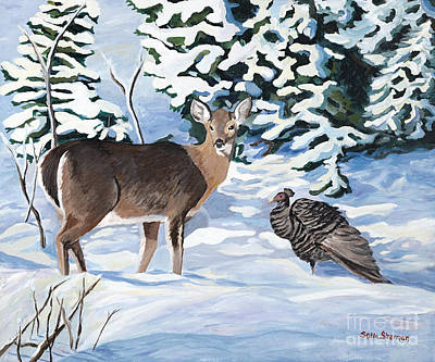 Painting - Woodland Creatures Meet by Stella Sherman