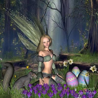 Woodlands Scene Digital Art - Woodland Easter Egg Fairy by Fairy Fantasies