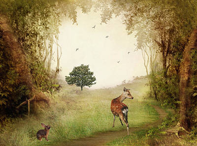 Clearing Digital Art - Woodland Friends by Sharon Lisa Clarke
