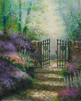 Pathway Painting - Woodland Gate Lilacs by Charles Gaul