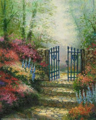 Woodland Gate Rose Art Print by Charles Gaul