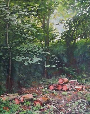 Painting - Woodland Glade In Peebles by Richard James Digance