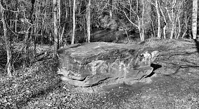 Rock Altar Photograph - Woodland Graffiti Altar In Black And White by James Potts