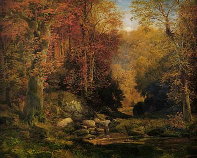 Rocky Digital Art - Woodland Interior by Thomas Moran