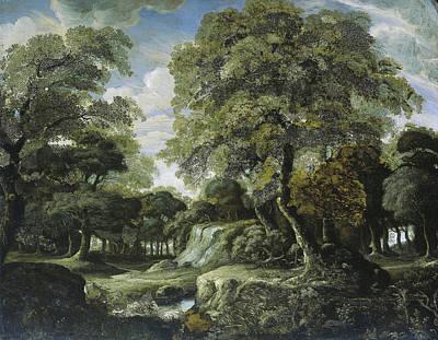 Woodlands Scene Drawing - Woodland Scene, Jan Van Der Heyden by Litz Collection