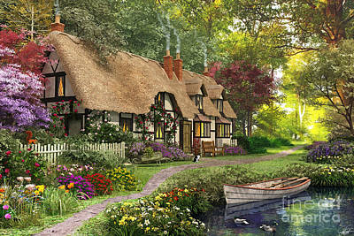 Nostalgic Digital Art - Woodland Walk Cottage by Dominic Davison