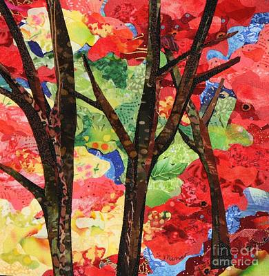 Fabric Mixed Media - Woodlands In Fall by Susan Minier