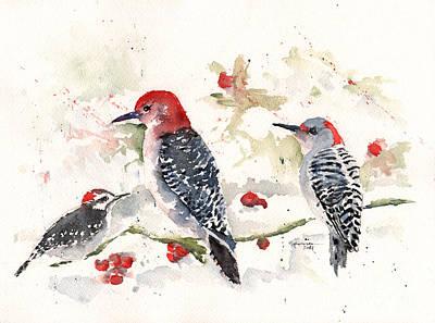 Woodpeckers In The Snow Original by Claudia Hafner