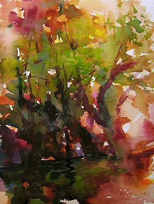 Woods And Creek Watercolor Art Print by Julianne Felton