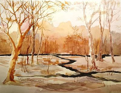 Painting - Woods By The Reservoir by Larry Hamilton