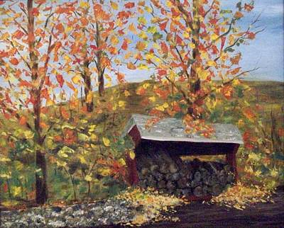 Woodpile Painting - Woodshed In Autumn by Nancy Craig