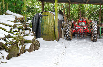 Woodshed In Winter Art Print by David Birchall