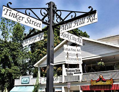 Woodstock Crossroads Print by Nancy  de Flon