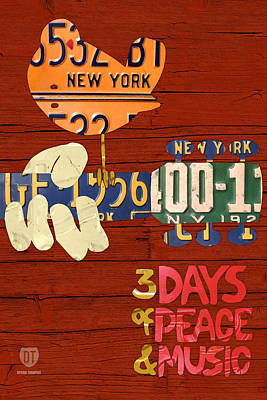 1970s Mixed Media - Woodstock Music Festival Poster License Plate Art by Design Turnpike
