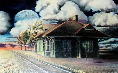 Lamp Post Drawing - Woodstock Station by DA Neace