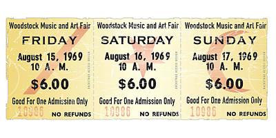 Woodstock Ticket Stub Poster Art Print by Alain Jamar