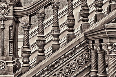 Woodwork On A Railing At The Tippecanoe Art Print by Rona Schwarz