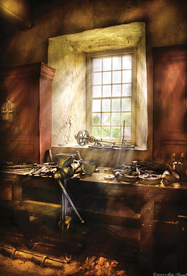 Window Bench Photograph - Woodworker - Many Old Tools by Mike Savad