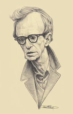 Film Maker Drawing - Woody Allen by Sri Priyatham
