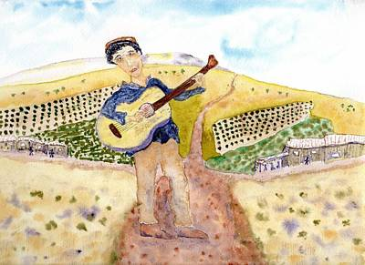 Painting - Woody Guthrie In California by Jim Taylor