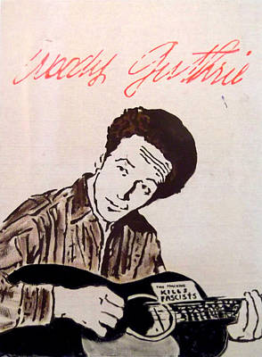Woody Guthrie Painting - Woody Guthrie by Jill Wells
