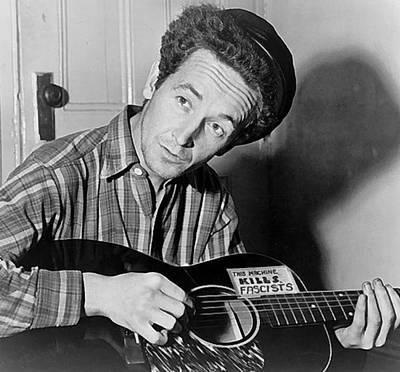Digital Art - Woody Guthrie This Machine Kills Fascists by Al Aumuller
