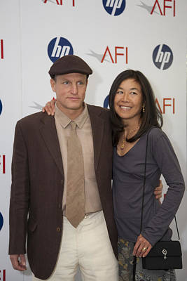 Woody Harrelson And Wife Art Print by Hugh Smith