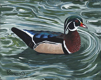 Wood Duck Painting - Woody by Timithy L Gordon