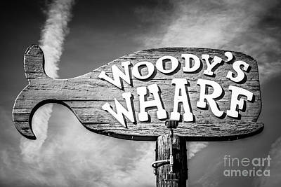 Balboa Peninsula Photograph - Woody's Wharf Sign Picture In Newport Beach by Paul Velgos
