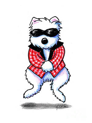 Funny Dog Drawing - Woof 'em Gingham Style by Kim Niles