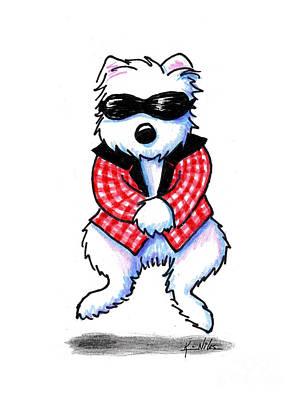 Parody Drawing - Woof 'em Gingham Style by Kim Niles