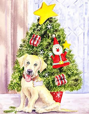 Yellow Fairy Painting - Woof Merry Christmas by Irina Sztukowski