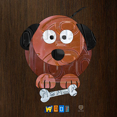 Travel Mixed Media - Woof The Dog License Plate Art by Design Turnpike