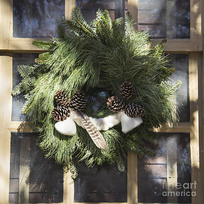 Wool And Feather Wreath Art Print