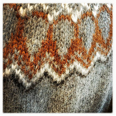 Texture Photograph - Woolen Jersey Detail Grey And Orange by Matthias Hauser