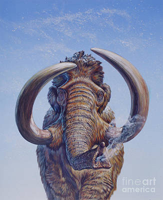 Woolly Mammoth Charging, Pleistocene Art Print