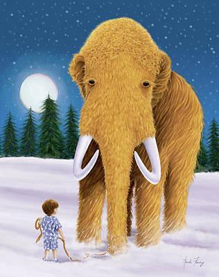 Woolly Mammoth Dream Art Print by Amanda Francey