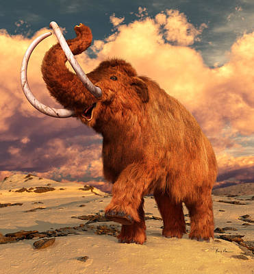 Mammoth Painting - Woolly Mammoth by Gary Hanna