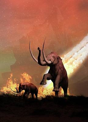 Woolly Mammoths And Meteor Art Print by Victor Habbick Visions