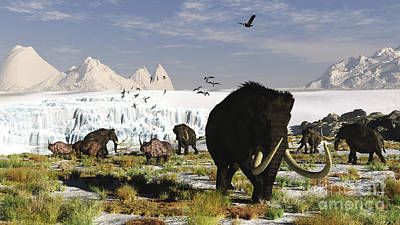 Animals Digital Art - Woolly Mammoths And Woolly Rhinos by Arthur Dorety